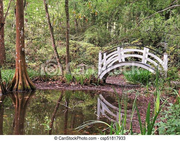Bridge at Magnolia Plantation in Charleston, SC - csp51817933