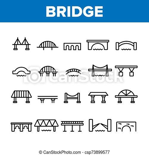 Bridge Construction Collection Icons Set Vector - csp73899577