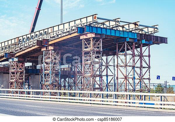 bridge., construction, vue, site - csp85186007