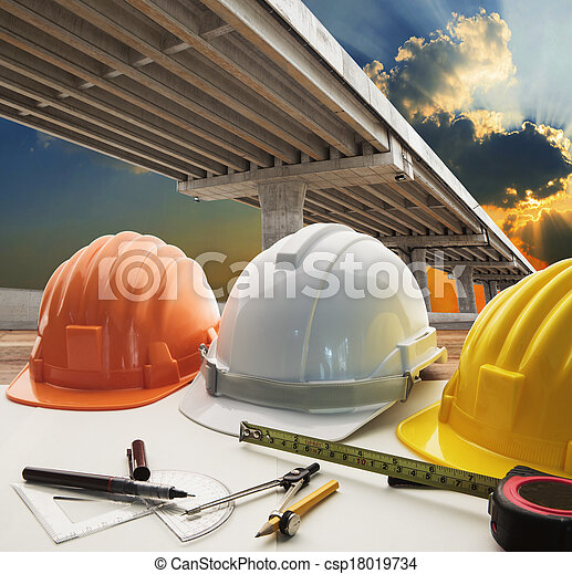 bridge crossing road junction and civil engineer warking table use for urban infra structure and government  development topic and civil engineering ,real estate topic - csp18019734