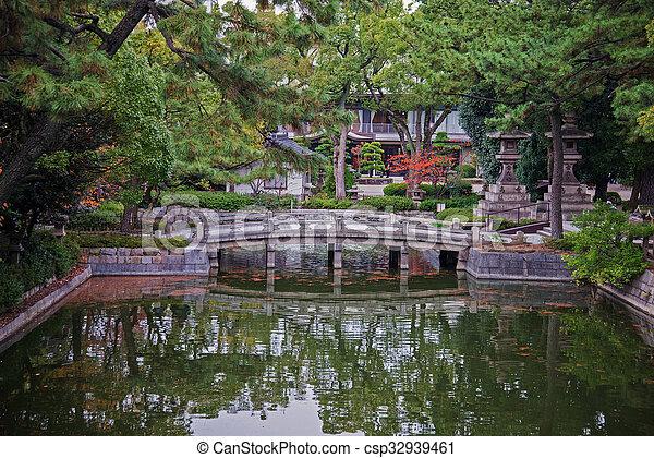bridge in garden - csp32939461
