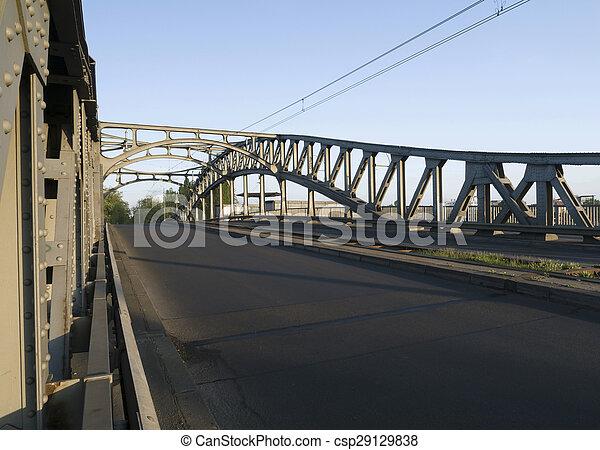 Bridge in the morning light - Bornholmer Bridge Berlin - csp29129838
