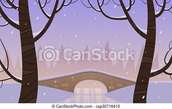 Bridge in the snow - csp30716410