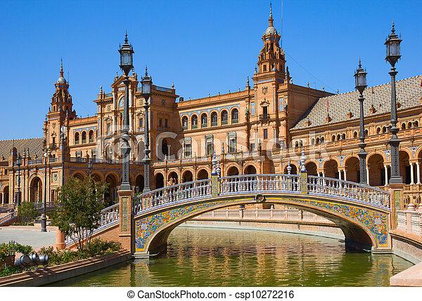 bridge of  Plaza de España, Seville, Spain - csp10272216