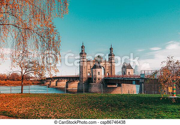 Bridge of Queen Louise in Sovetsk, Kaliningrad region. Autumn view. - csp86746438