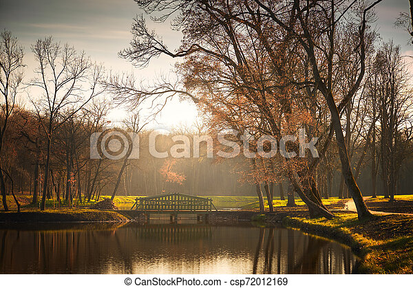 Bridge on lake autumn park - csp72012169