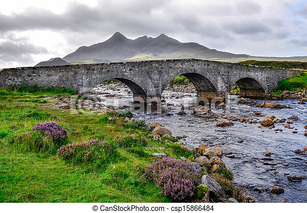 Bridge on Sligachan with Cuillins Hills in the background, Scotland, United Kingdom - csp15866484