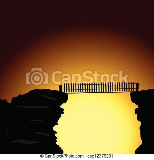 bridge on the cliff vector illustration - csp12376201