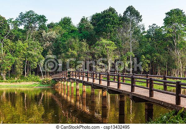 Bridge on the lake. - csp13432495