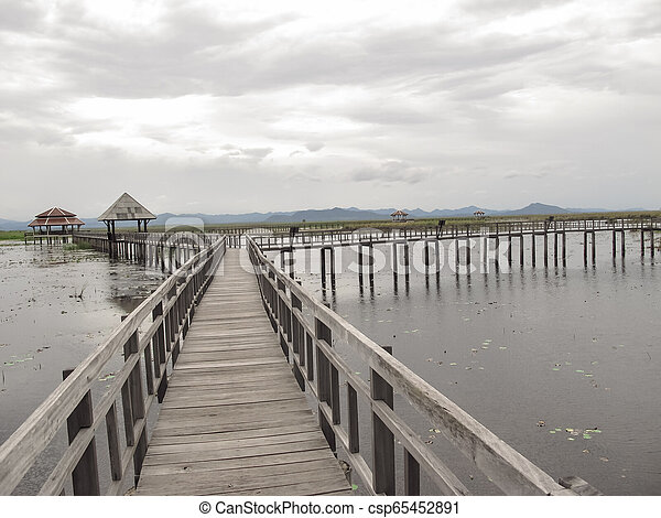Bridge on the lake - csp65452891