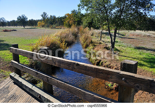 Bridge over Creek in California Wildlife Refuge - csp4555966