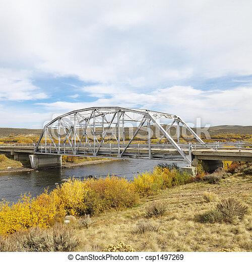 Bridge over stream in Wyoming. - csp1497269