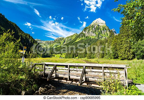 Bridge over the Sulzback creek at Obersee Valley in Swiss Alps - csp90685995