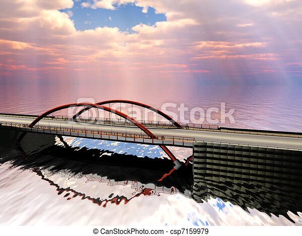 bridge over water in the morning - csp7159979