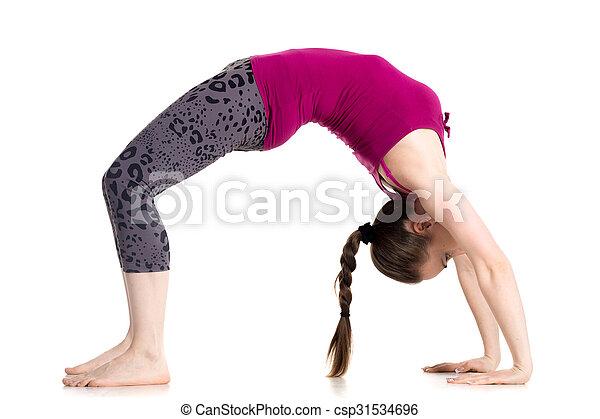 bridge pose sporty beautiful young woman doing bridge