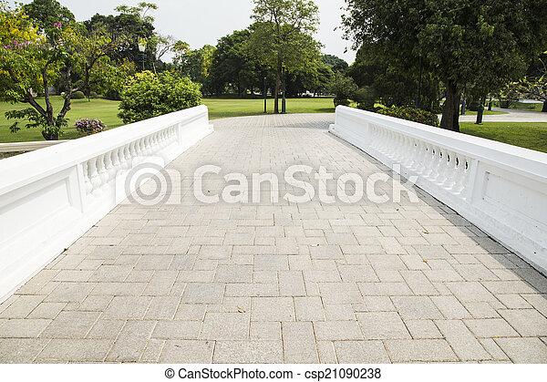 Bridge stone floor in the garden. - csp21090238