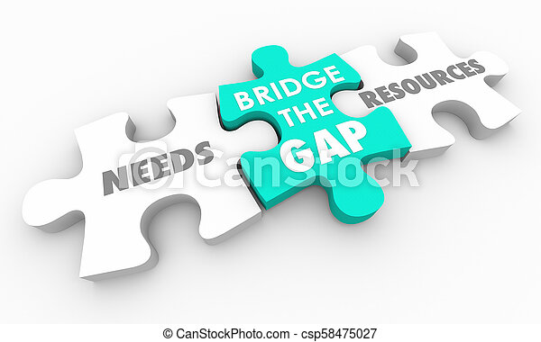 Bridge the Gap Between Needs and Resources Puzzle 3d Render Illustration - csp58475027