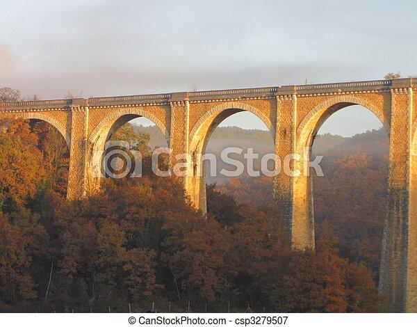 Bridge, viaduct, Souillac, archway, autumn, - csp3279507