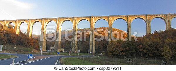 Bridge, viaduct, Souillac, archway, autumn, - csp3279511