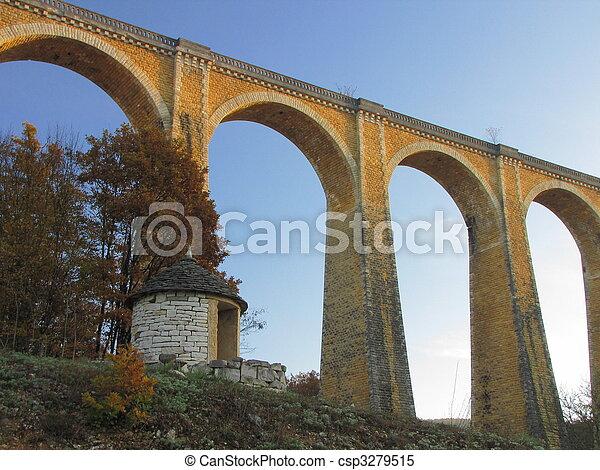Bridge, viaduct, Souillac, archway, autumn, - csp3279515