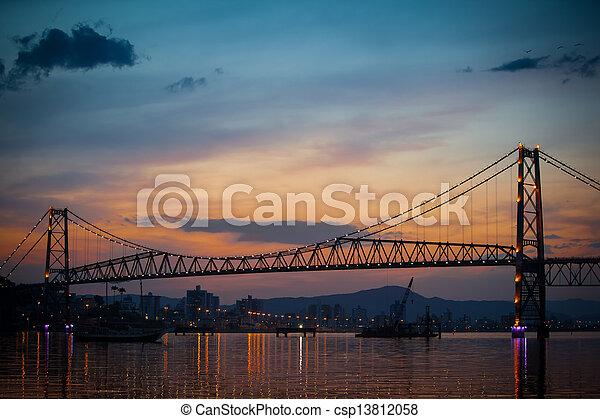 Bridge with Orange Sunset - csp13812058