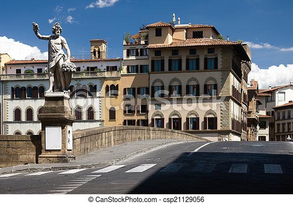 Bridge with sculpture promenade in Florence - csp21129056