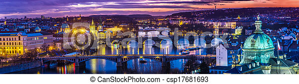 Bridges in Prague over the river at sunset - csp17681693