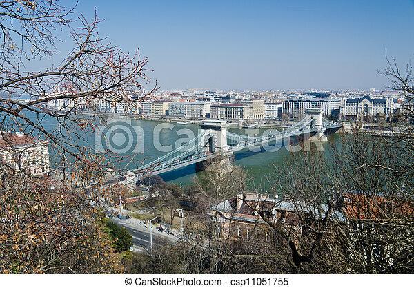 bridges of Danube and the Hungary Parliament - csp11051755