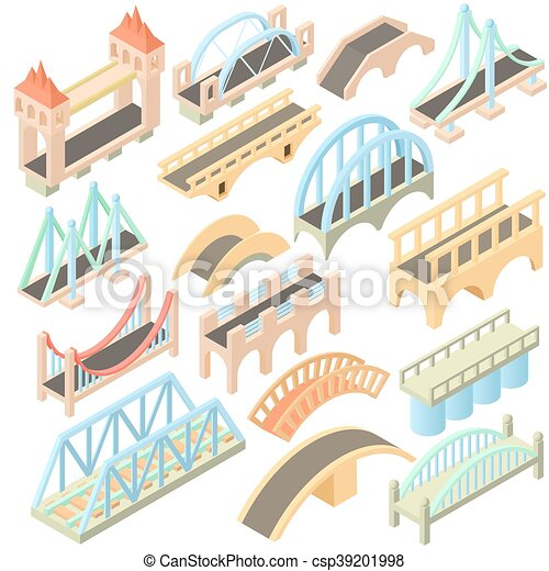 Bridges set, isometric 3d style - csp39201998