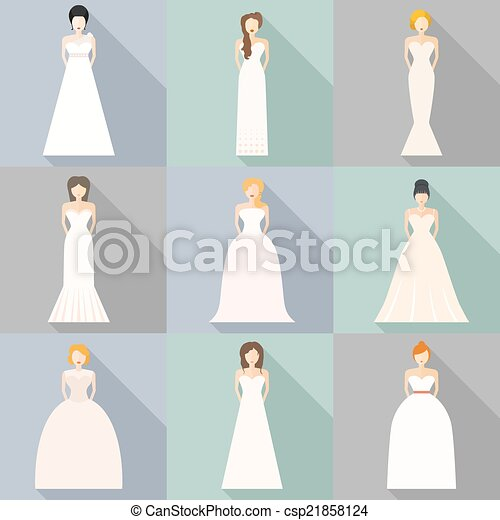 Brids in wedding dresses. Brides in different styles of wedding ...
