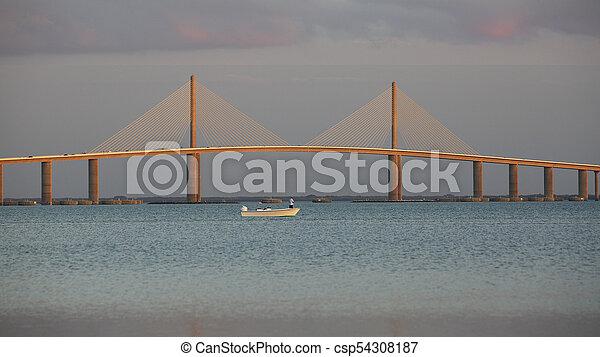 bridzs, florida, napfény, -, légi út, halászat, alatt, kicsi csónakázik - csp54308187