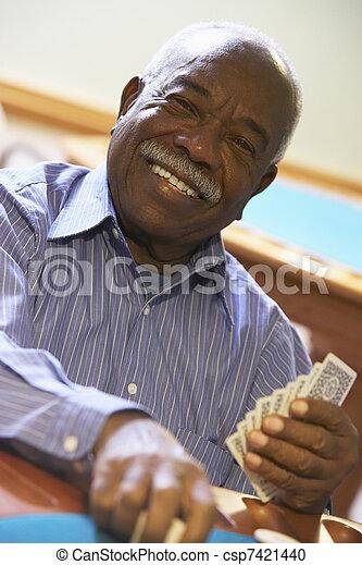 bridzs, idősebb ember, játék, ember - csp7421440