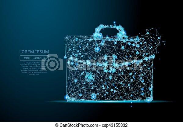 briefcase low poly blue - csp43155332