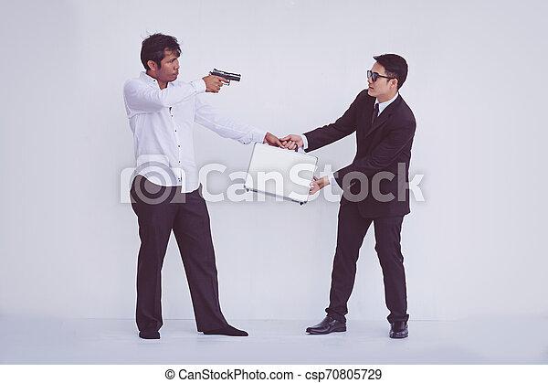 briefcase., rob, 届く, 銃, 人 - csp70805729