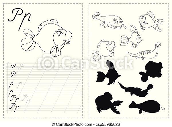 Briefe, alphabet, fische, verfolgen, -, arbeitsblatt, russische ...