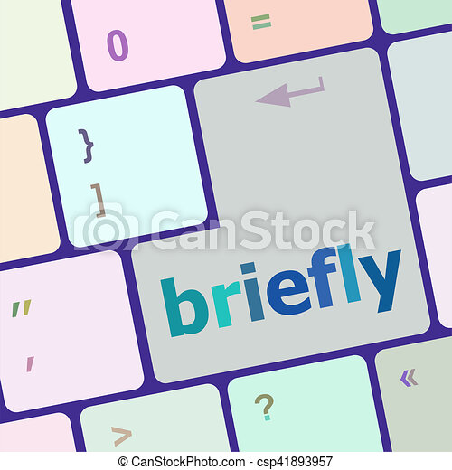 Briefly text button on keyboard with soft focus - csp41893957