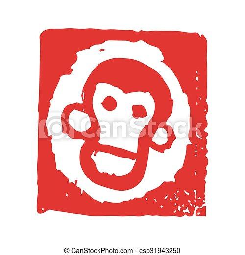 briefmarke affe affe chinesisches briefmarke gesicht