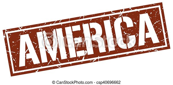 briefmarke, brauner, amerika, quadrat - csp40696662