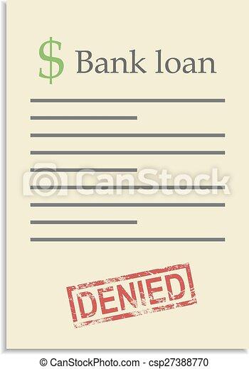 Briefmarke, darlehen, dokument, bank, verweigert. Bekommen ...
