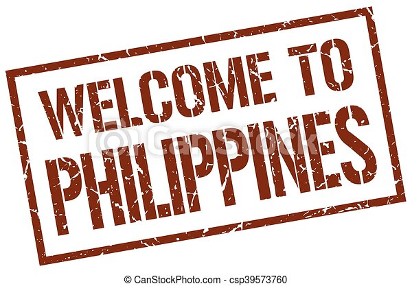 briefmarke, philippinen, herzlich willkommen - csp39573760