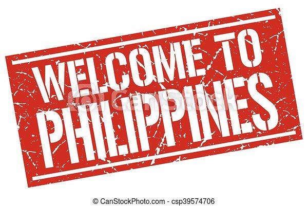 briefmarke, philippinen, herzlich willkommen - csp39574706