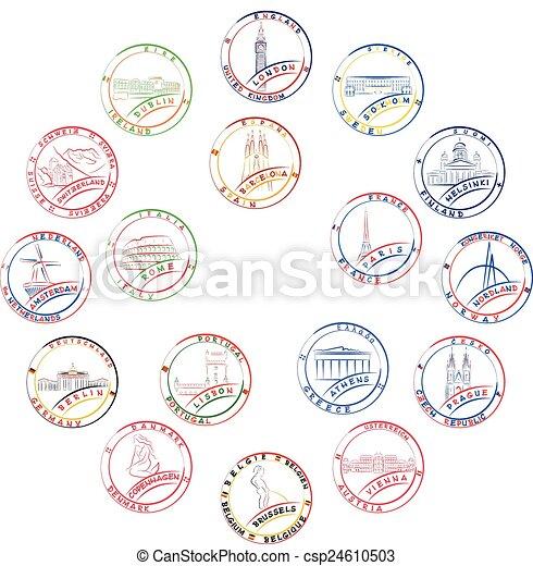 Briefmarken, europäische , länder. Symbole, name, länder, \