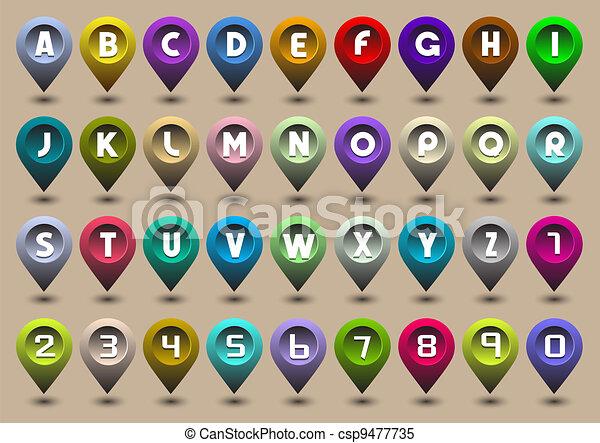 brieven, vorm, iconen, alfabet, getallen, navigatiesysteem - csp9477735