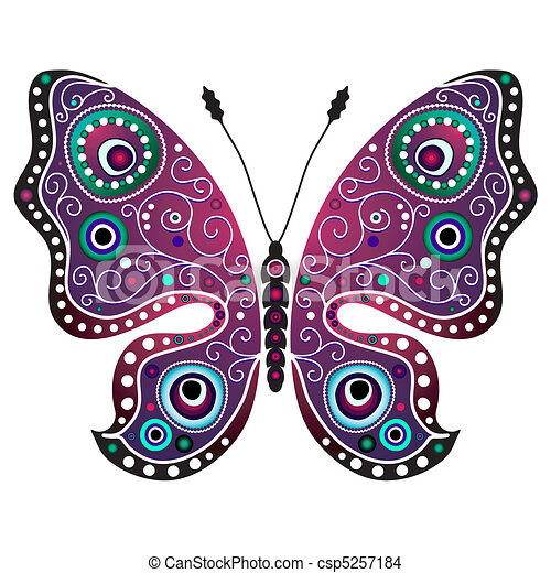 Bright Abstract Butterfly Bright Decorative Butterfly Isolated On