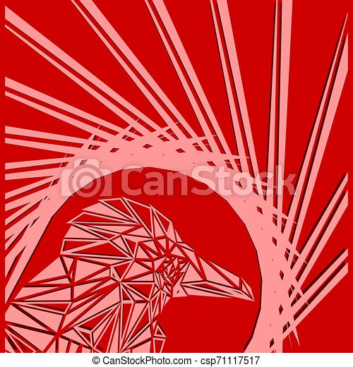 Bright abstract pink bird on a red background in the nest. - csp71117517