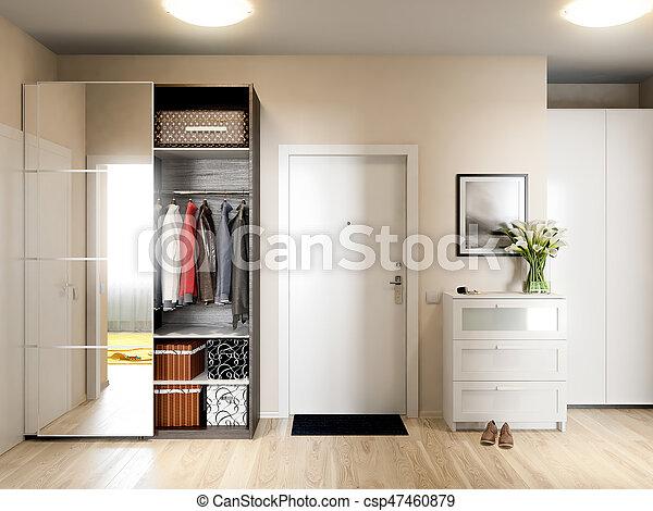 Bright and cozy hall interior design in modern urban contemporary ...