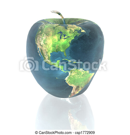 bright apple with earth texture - csp1772909