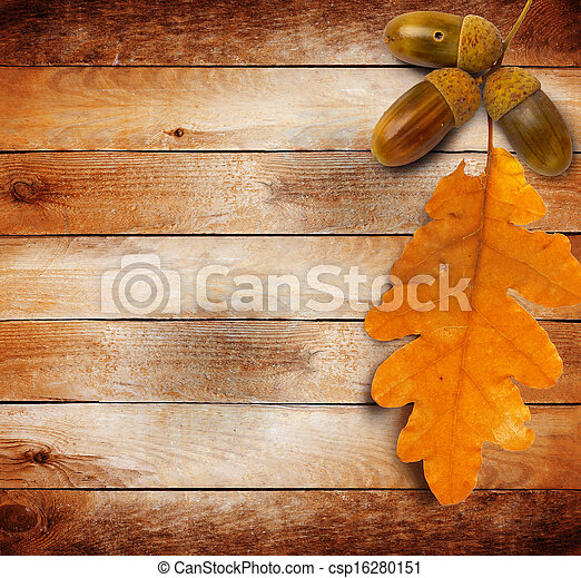 Bright autumn leaves on the old grunge wooden background  - csp16280151