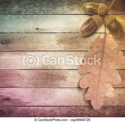 Bright autumn leaves on the old grunge wooden background - csp49948726