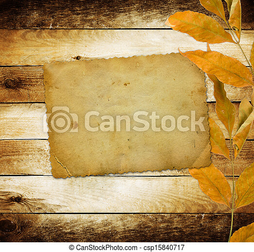 Bright autumn leaves on the wooden background  - csp15840717